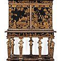 Grand cabinet en laque, à motifs or sur fond noir, travail parisien d'époque louis xiv, c. 1670-1680