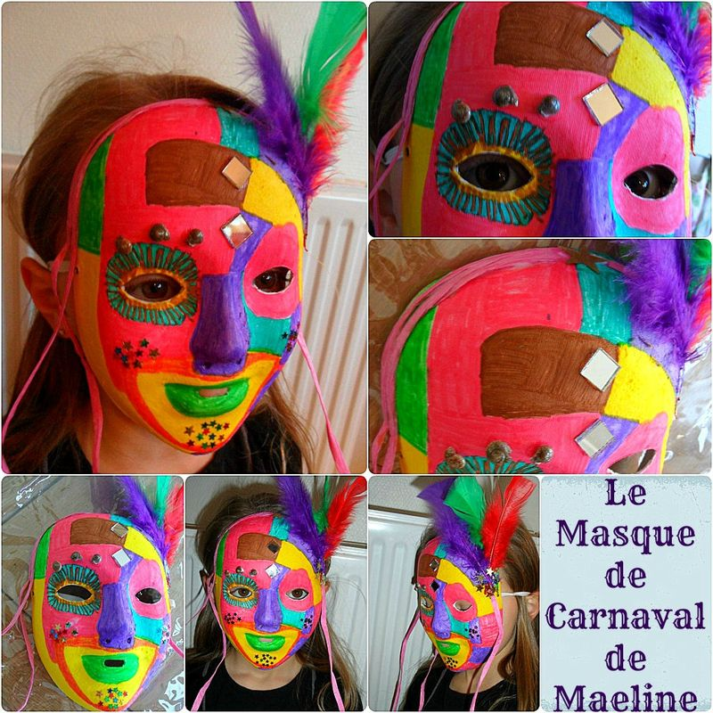 Masque de carnaval les p 39 tites bricoles d 39 ynnaf for Decorer un masque blanc
