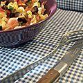 Pâtes aux aubergines, mozzarella et jambon cru