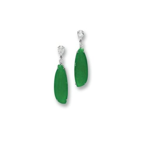 Pair of Jadeite and Diamond Pendent Earrings