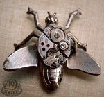 WINDUP_BEE_Vintage_Watch_Collage_Brooch_Pin_19_Moons_Eco_Friendly_Steampunk_CLOCKWORK_INSECT_WOWzzzzza___19Moons