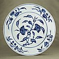 A rare Ming blue and white dish. Chenghua six-character mark wri