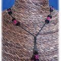 Collier rose et noir fil coton (CC15)