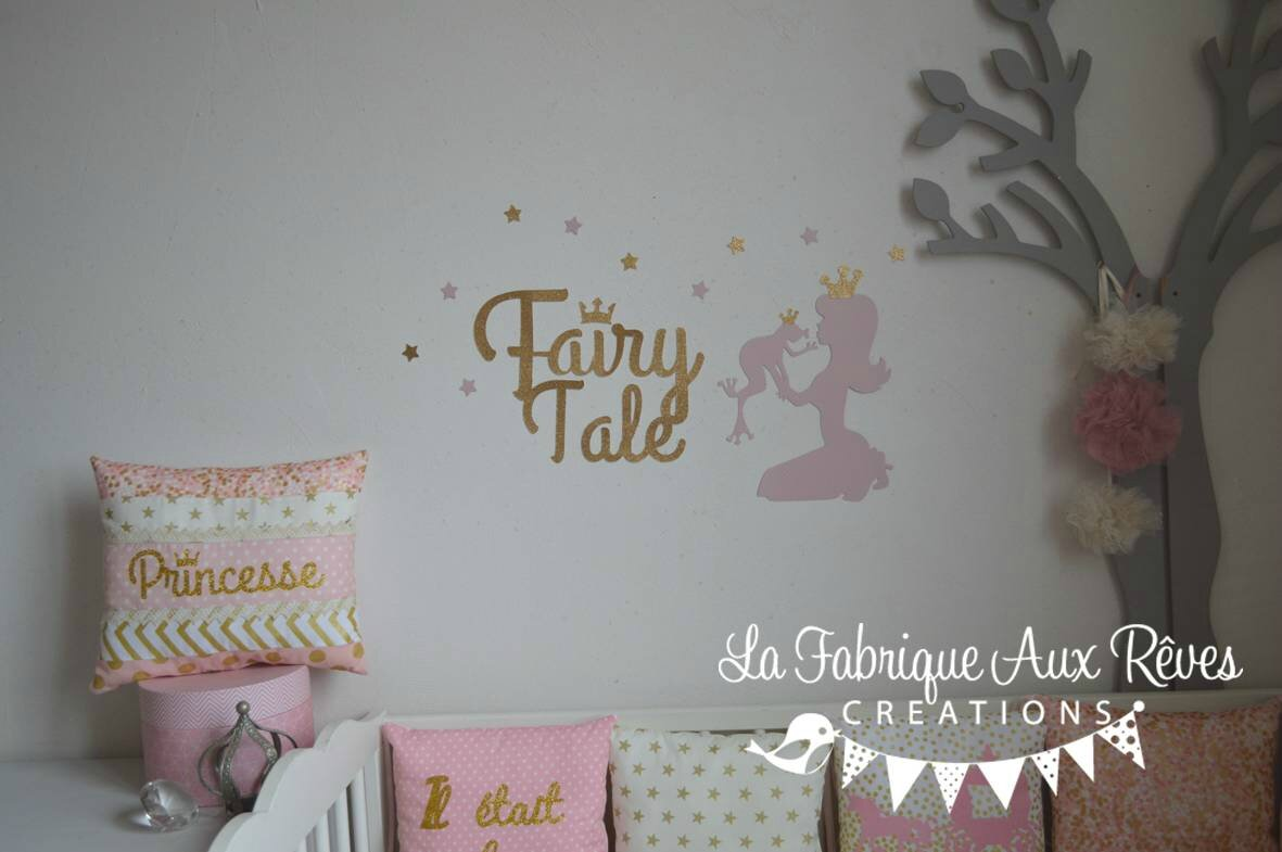 Stickers princesse grenouille conte de f e rose dor d coration chambre b b - Decoration conte de fee ...