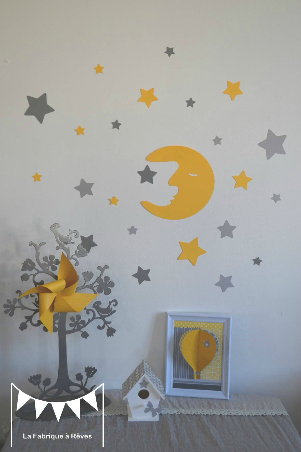stickers d coration chambre enfant fille b b gar on lune et toiles jaune gris photo de 18. Black Bedroom Furniture Sets. Home Design Ideas