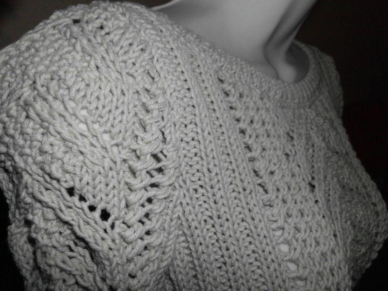 Pull laine et coton et points fantaisie fait main by cr a 39 chonche - Point fantaisie tricot phildar ...