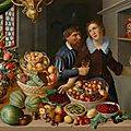 Georg flegel and probably marten van valckenboch, large still life with fruits, vegetables and flowers, ..., circa 1610-15