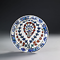 Plat  dcor floral, Iznik, vers 1565-1570