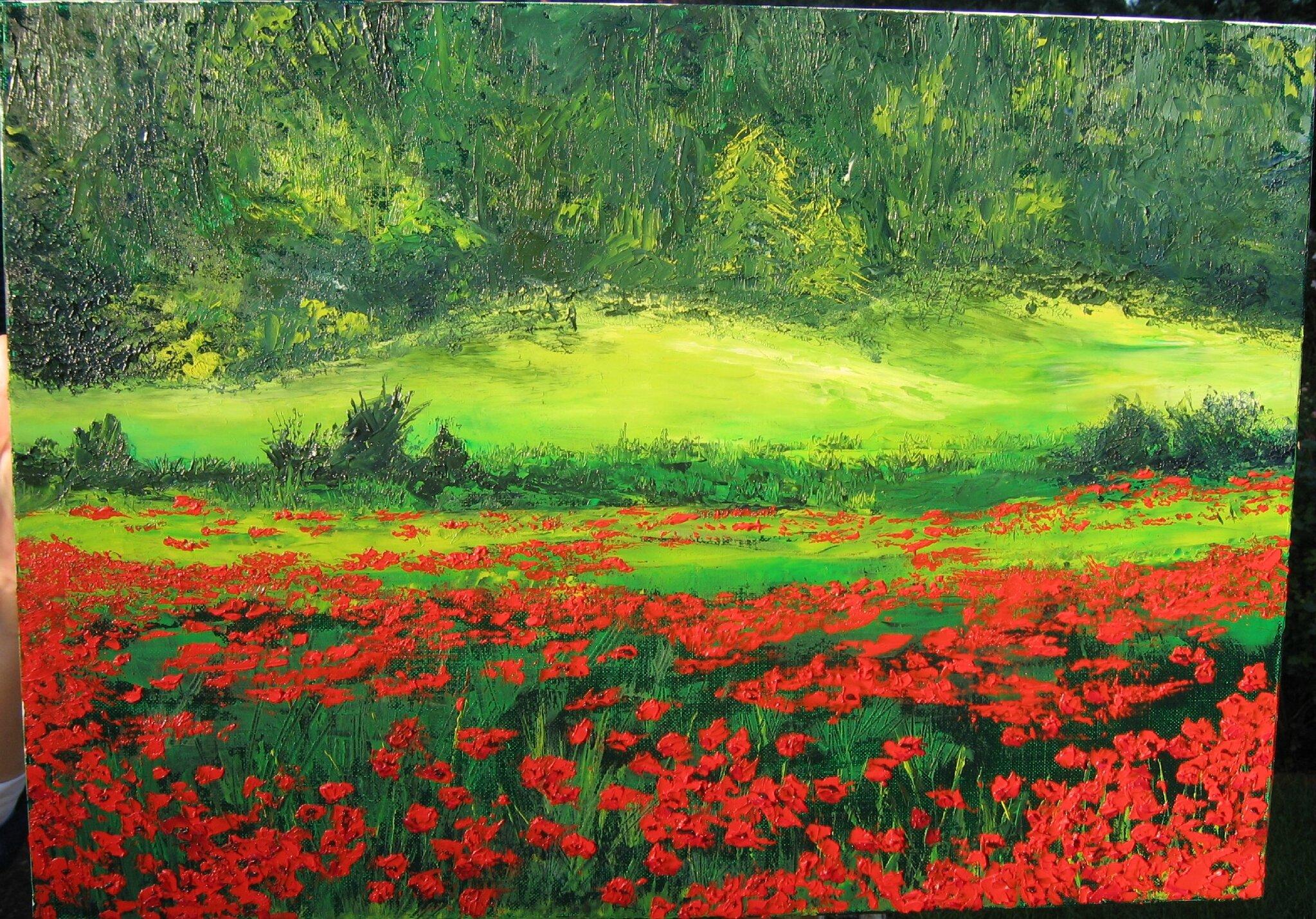 70x80 d 39 apr s un tableau d couvert au mus e de l 39 atelier for Tableau de coquelicot en peinture