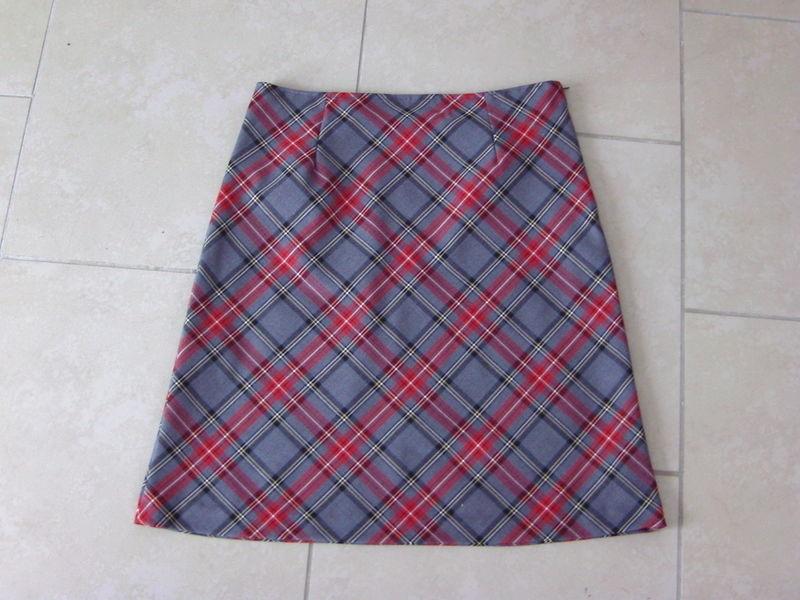jupe carreaux rouge et gris