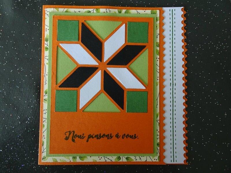14c Carte patchwork orange vert jardin noir et blc
