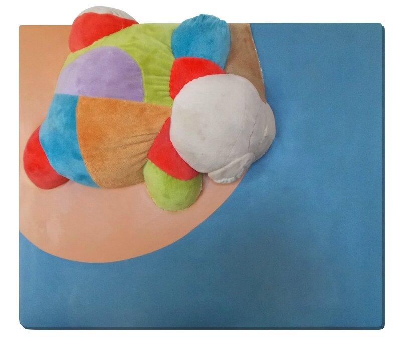 Sin Título 7 - 55 x 66 cm - Acrílico y peluche cosido sobre lienzo