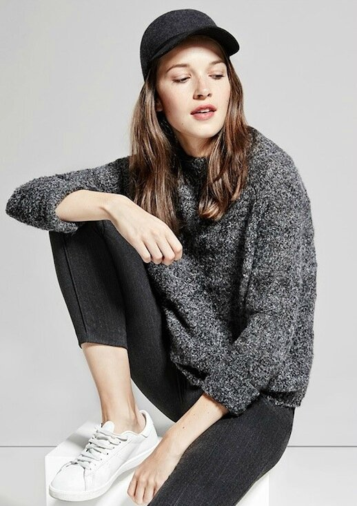 Le-Fashion-Blog-Grey-On-Grey-Fall-Style-Dark-Grey-Baseball-Cap-Melange-Fuzzy-Sweater-Pin-Stripe-Trousers-White-Sneakers-Via-Mango