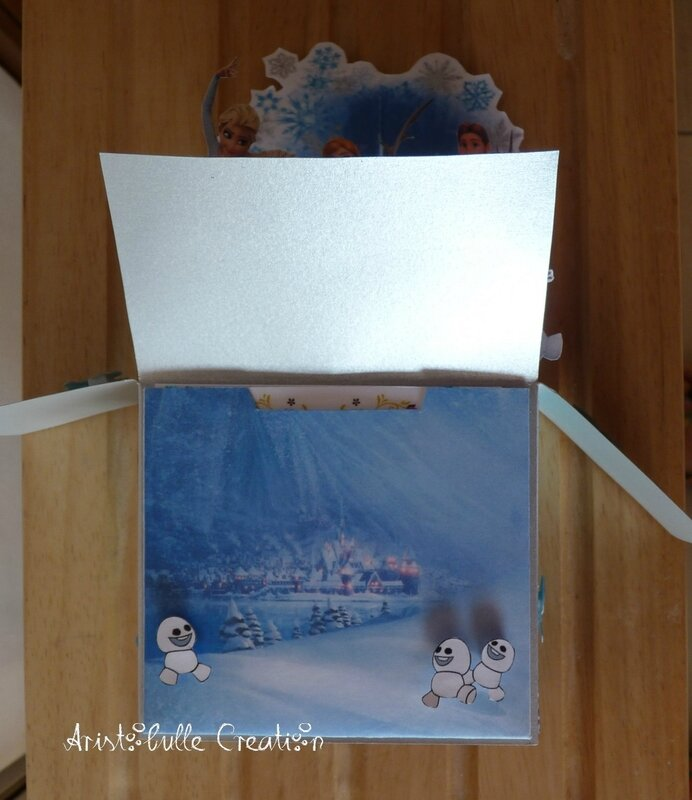 Card in a box Reine des Neiges - devant