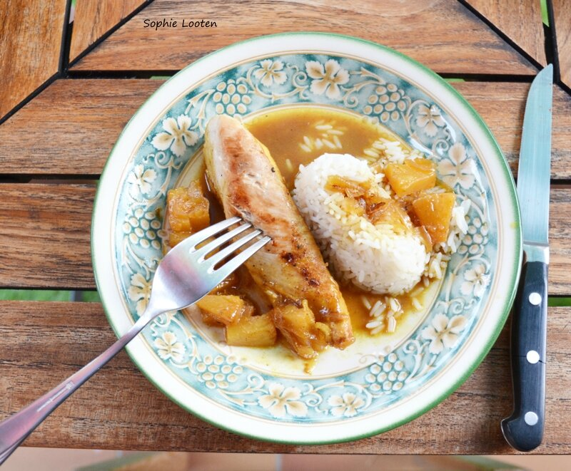 Poulet sauce ananas curry2