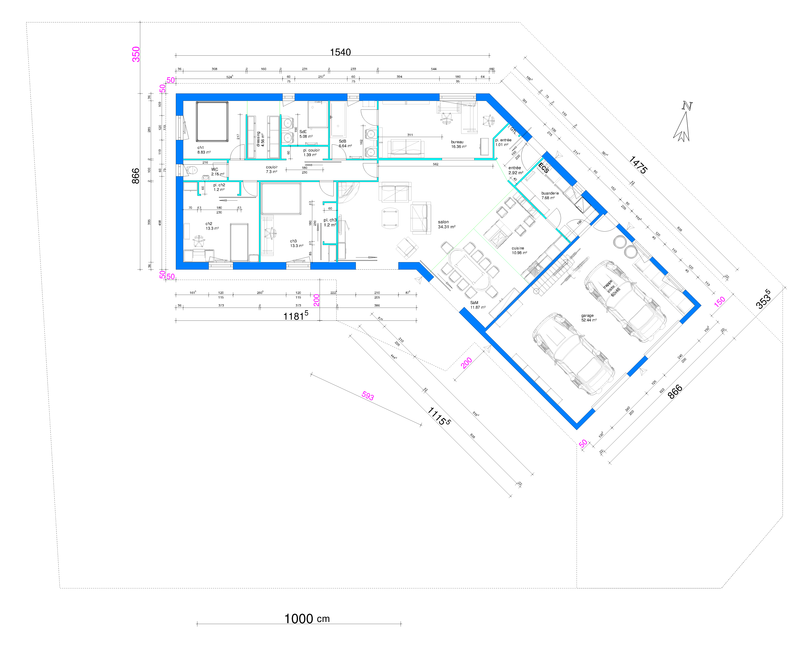 Plan maison avec suite parentale cette maison dispose de for Plan maison plain pied suite parentale