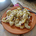 Recette d'entrée ou plat gratin de pâte aux champignons