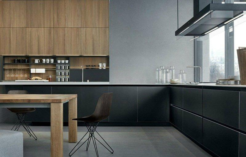 cuisine-noire-mate-grise-table-armoires-bois-massif