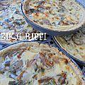 Tartelettes aux échalotes et au fromage frais sur une pâte brisée aux noix