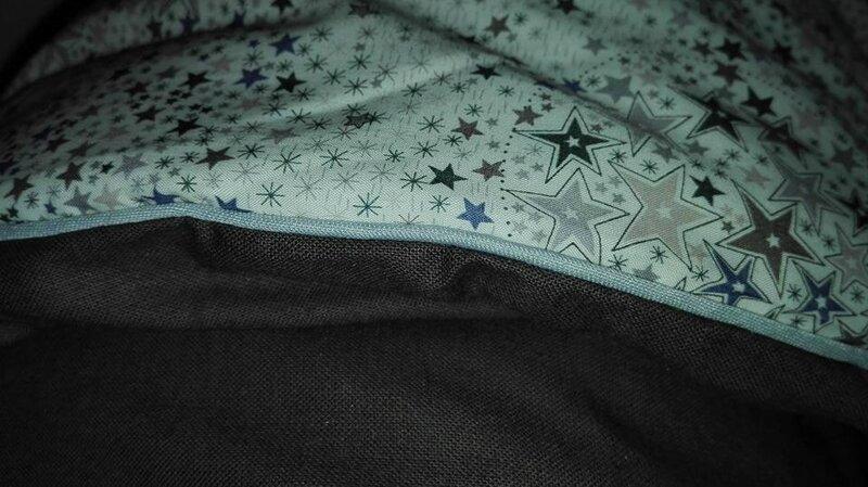 Plaid-Edredon en Liberty Adelajda gris, dos coton gris-brun, passepoil gris 150x100 cm (1)