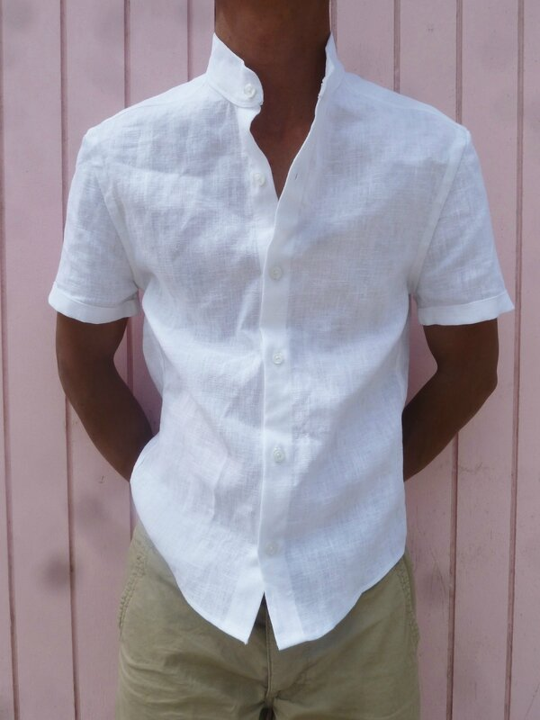 Chemise d'été en lin blanc First one (16)