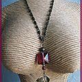 collier rose et bronze (Cc62)