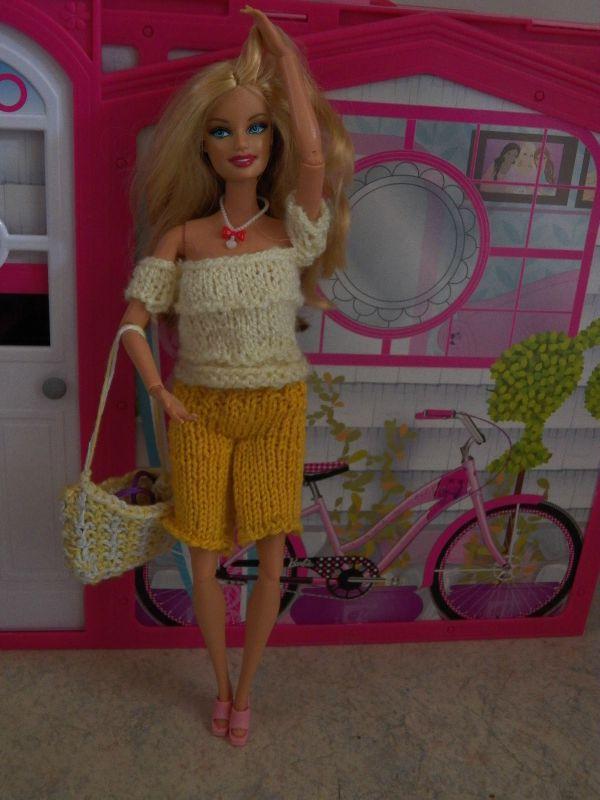 tricot barbie:tenue et sac pour Cutie