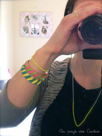 Bracelets en croquet et collier chaînette néon- fluo Au pays des Cactus 6