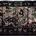 Paravent en laque de coromandel. chine, epoque kangxi (1662-1722), dynastie qing (1644-1911).