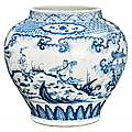 Important blue and white guan vase. china, ming dynasty