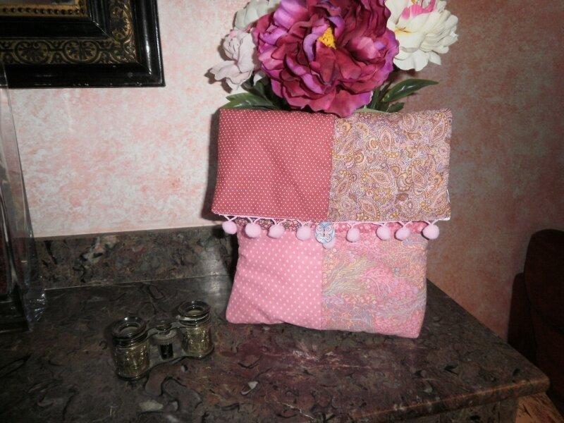 pochette carre rose