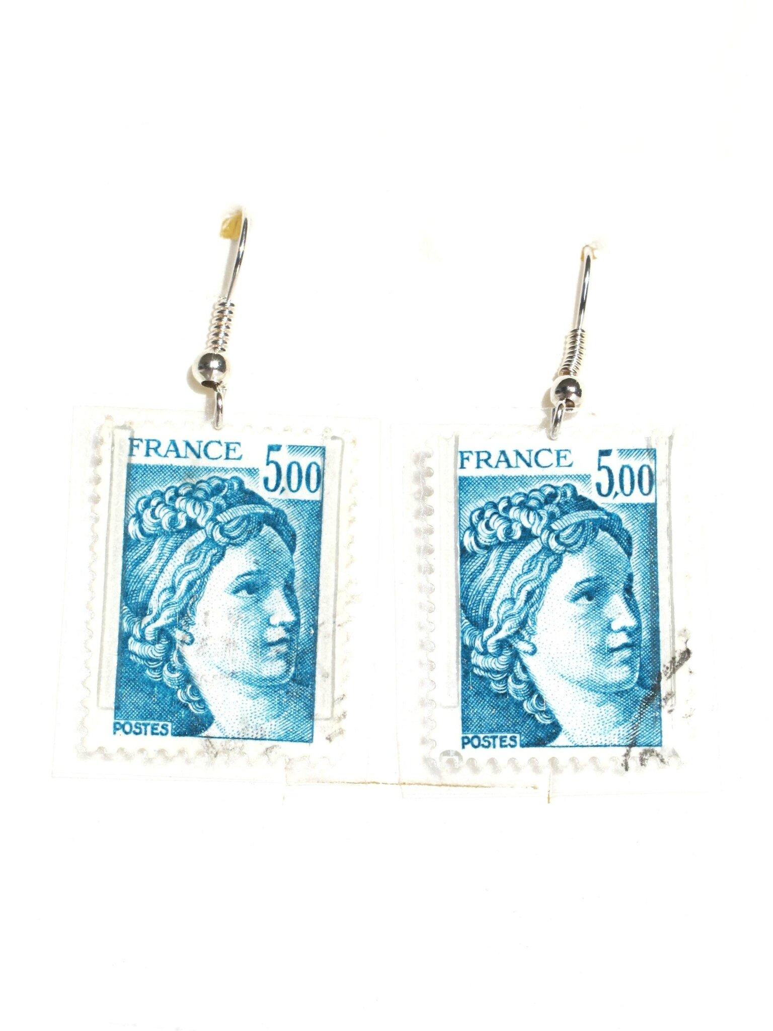 bijoux timbre france sabine bleu 5