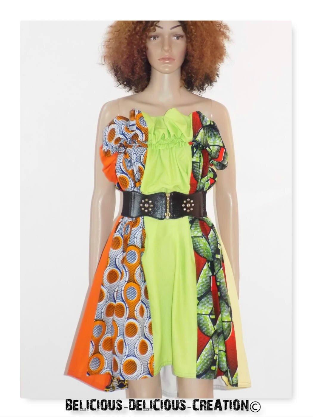 Originale Robe !! APPLEWAX !! En coton vert et multicolore Taille 38/40 Long 82cm belicious-delicious-creation