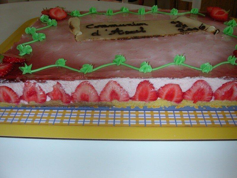 fraisier pour la communion du garçon d'une collegue