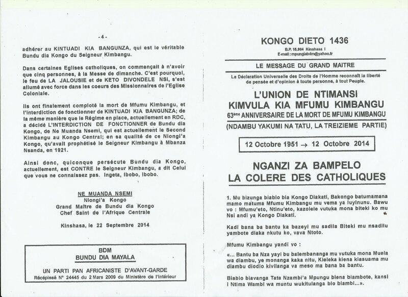 LA COLERE DES CATHOLIQUES a