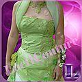 Robe de mariée ivoire et verte de sophie