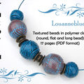 Textured beads in polymer clay by louanneblue