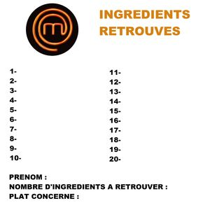 LISTE INGREDIENTS A RETROUVER