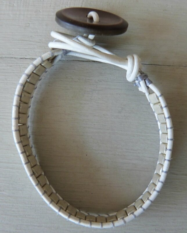 Bracelet Bohème - perles Metallic beiges (4)