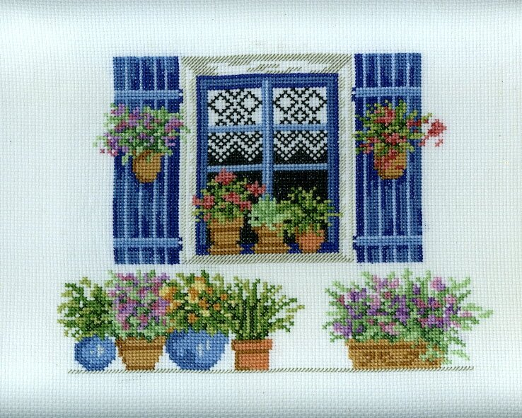 Fen tre fleurie photo de broderie et points compt s for Fenetre 30 x 30