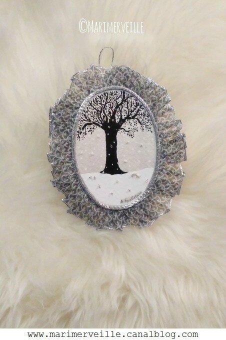 Médaillon Conte d'hiver noir et blanc- Marimerveille
