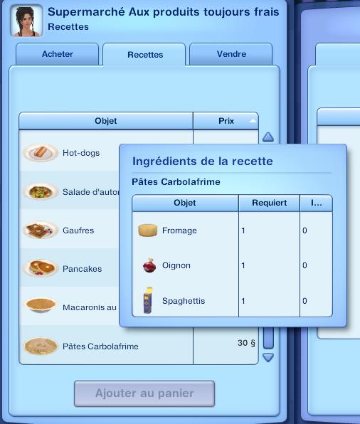 Devrez acheterun paquet de spaghettis, du fromage et des oignons