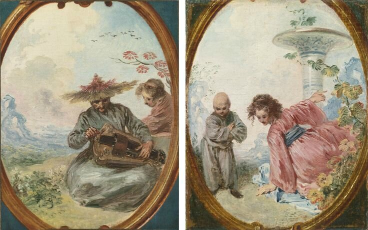 Jean Antoine Watteau (Valenciennes 1684 - 1721 Nogent-sur-Marne), Viosseu or Chinese musician; Chinese woman of Kouei Tchéou a pair of paintings