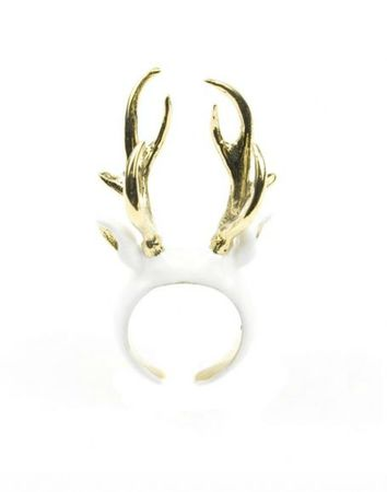 cerf emaille blanc