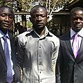 Avec deux de mes compagnons, Didier MAKAL et Terrance KIMUNNI, peu avant la défense