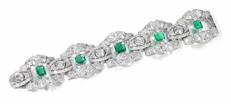 An Art Deco diamond and emerald bracelet, by Linzeler-Marchak, circa 1925