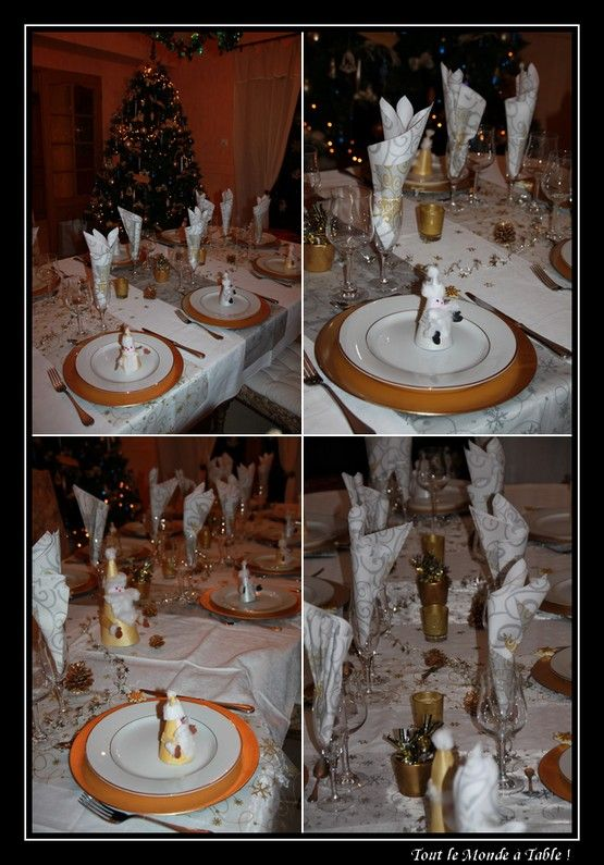 Table de f te d co de no l tout de blanc d 39 or et d for Table de noel argent et blanc