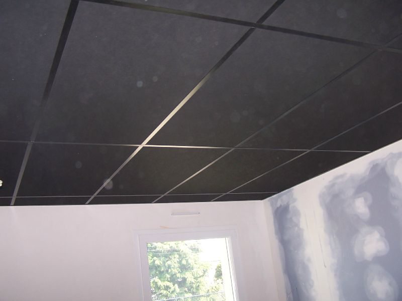 Plafond suspendu cr ation salle de cin ma photo de 6 for Plafond suspendu dalle
