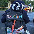 Sac à dos personnalisé prénom garçon voitures de course Bastien
