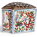 A wucai 'dragon and phoenix' fan-shaped cricket case, mark and period of wanli (1573-1619)